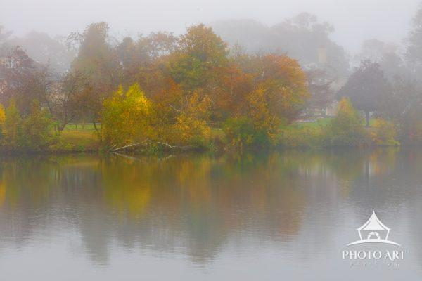 Vibrant autumn colors pop through a foggy morning on a tranquil pond.