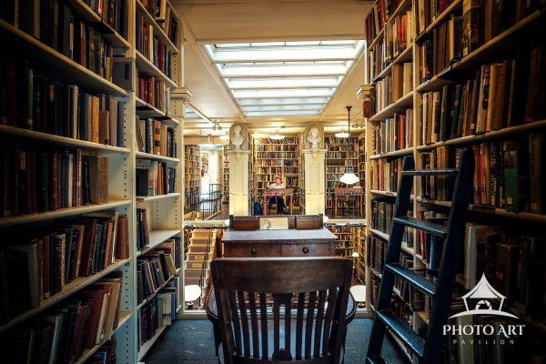 Historic old library and a place to study at an old vintage desk. Rhode Island. Color Photograph.