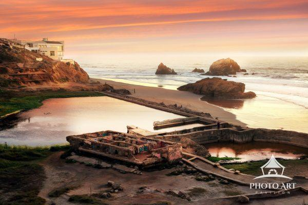Sutro Baths in San Francisco California, along the Pacific Ocean at sunset. A beautiful abandoned