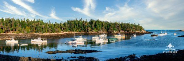 Birch Harbor, a small lobster fishing community on the coast of Maine. (Panoramic Image)
