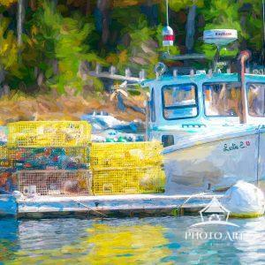 The Leslie E. lobster boat docked in South Bristol Maine