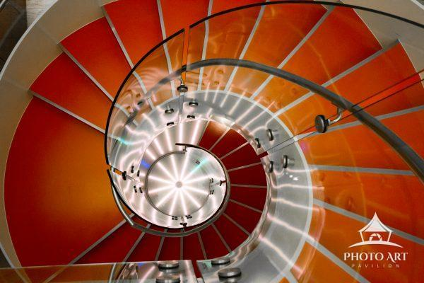 Red Staircase spiraling down.
