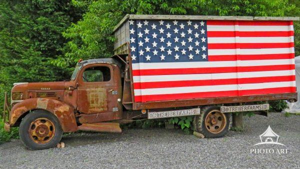 This truck has seen its better days. Now it's permanently in the parking lot of a local farm as a
