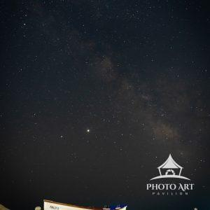 Beautiful night at the beach with Milky Way visible in the sky.
