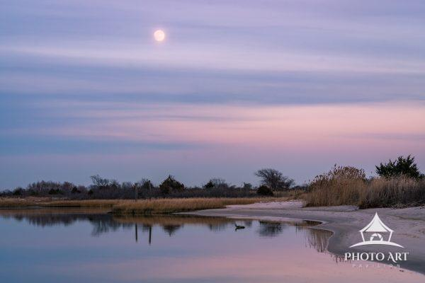Moon and  the sunset sky at Long Island
