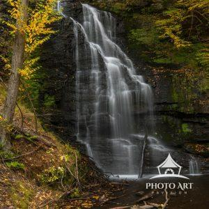 Bridal Veil Falls is located in the Bushkill Falls trail system. Here in autumn yellows on a cloudy