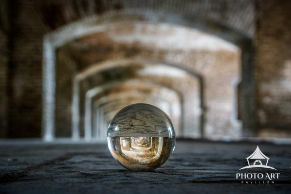 The world reflected through a globe.