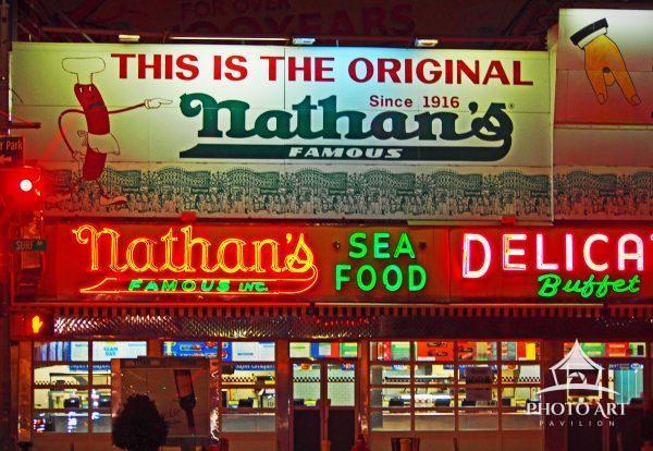 The Original Nathan's Famous at night