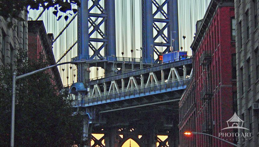 Manhattan Bridge and Empire State Building from Washington Street
