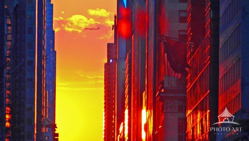Setting sun over 42nd Street