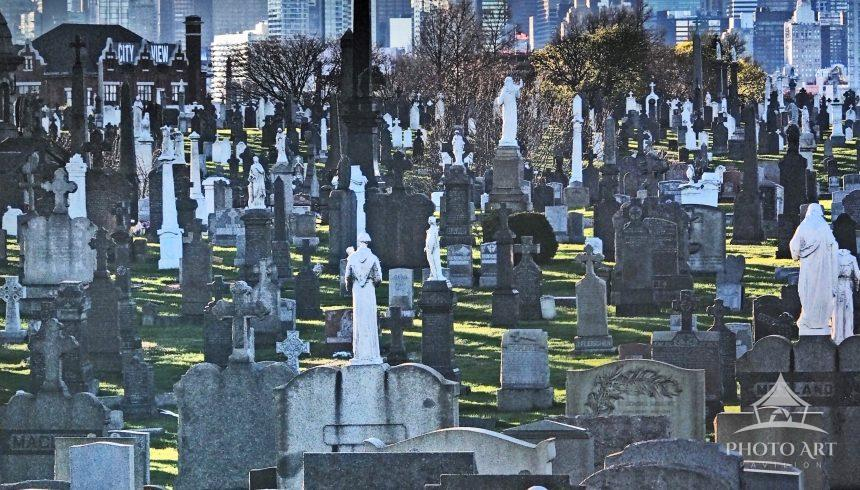 Calvary Cemetery and Manhattan skyline from Kosciuszko Bridge