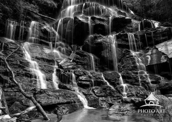 Silky Yellow Branch Waterfall in South Carolina in black and white.