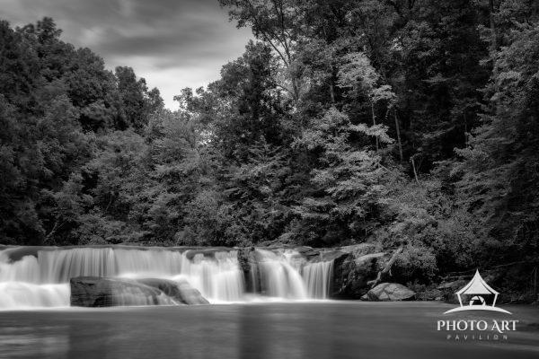 Black and white photograph of Riley Falls in South Carolina. Great hike and excellent swimming hole.