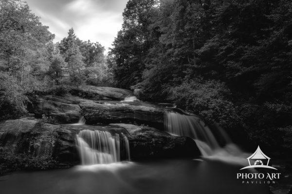 Cascading Ramsey Falls in SC in black and white.