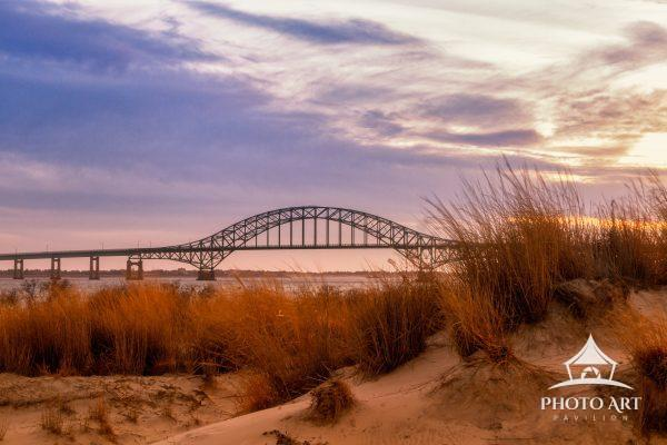 Iconic View of Robert Moses Causeway at sunset from Captree State Park.