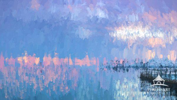 Digital abstract expression of sunrise over calm water.