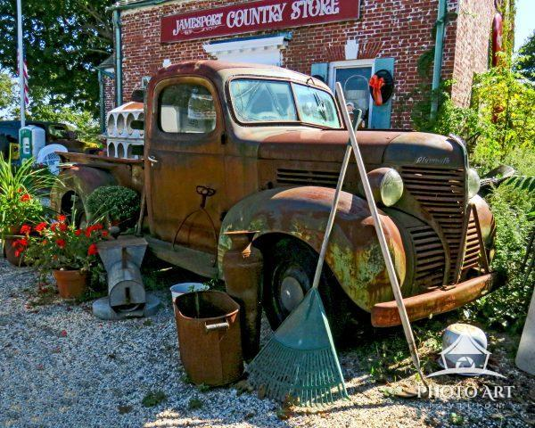 This old Plymouth pick-up truck decorates the parking area of the Jamesport General Store.