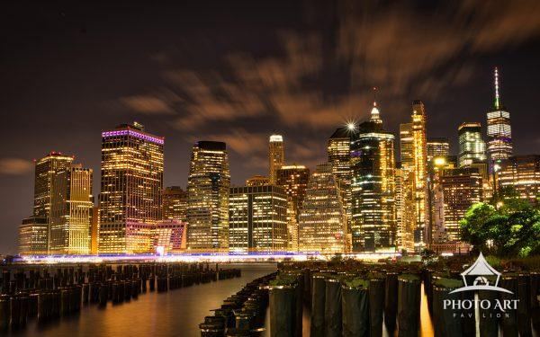 Long exposure of New York City skyline from Brooklyn