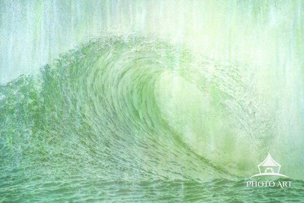 Textured impressionistic view of a refreshing wave coming into shore at Jones Beach, Long Island in