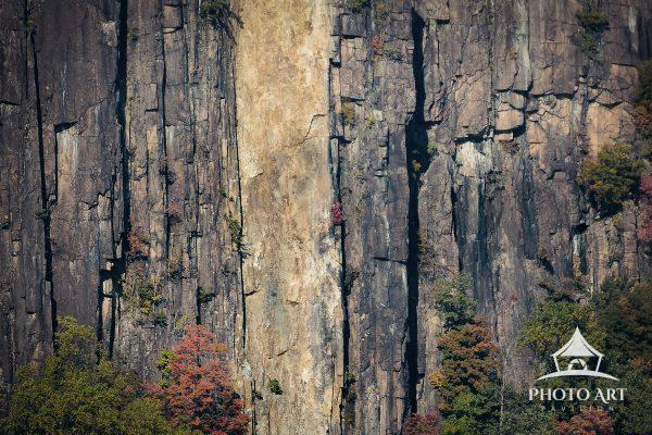 The elements of nature within the granite face along New York's famed Hudson River support one
