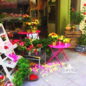 Digital painting of a flower shop on Boulevard du Montparnasse, Paris, France