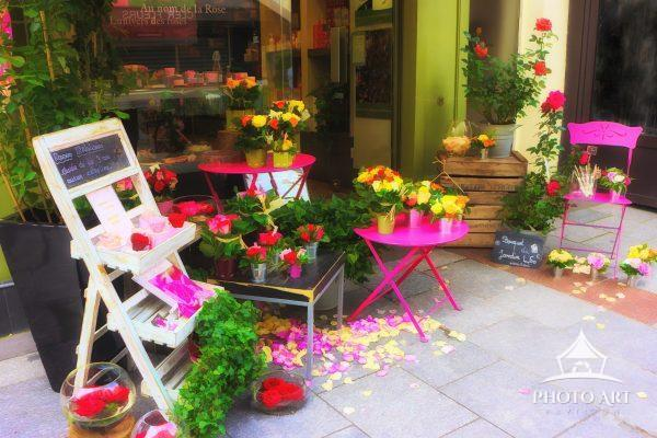 Digital painting of a flower shop on Boulevard du Montparnasse, Paris, France