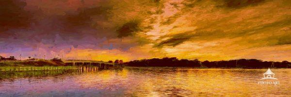A digitally painted view of the bridge connecting North Haven to Sag Harbor at sunset. The bridge