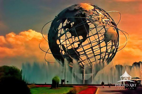 A digitally painted view of the Unisphere located in Flushing Meadows Corona Park, Queens NY. It can