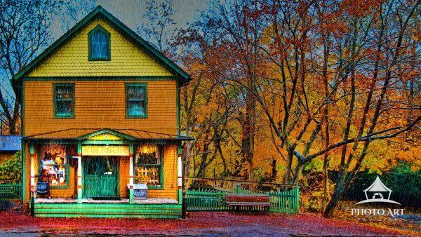 The St. James General Store is captured just before dark on a rainy fall day that brings out the