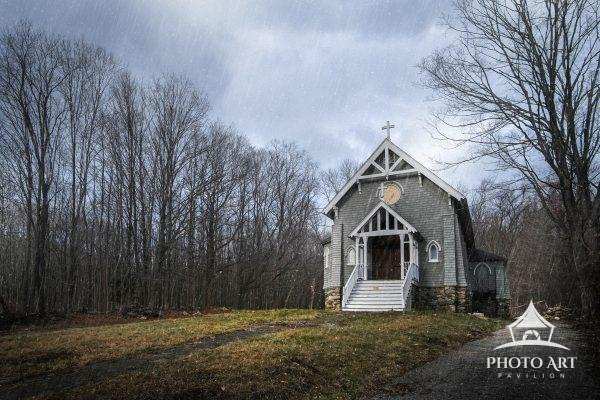 Amazing old, tiny church along the roadside somewhere in Connecticut, on a moody and rainy day.