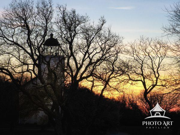 Dusk descends over Southold's Horton Point Light on a crisp autumn day.