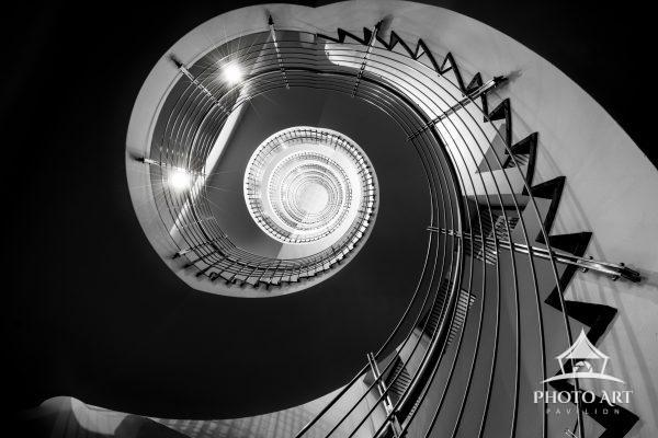 Another view of the staircase in the hotel in Iceland.