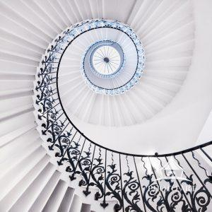 Famous Tulip Staircase at Queen's House in Greenwich, London.