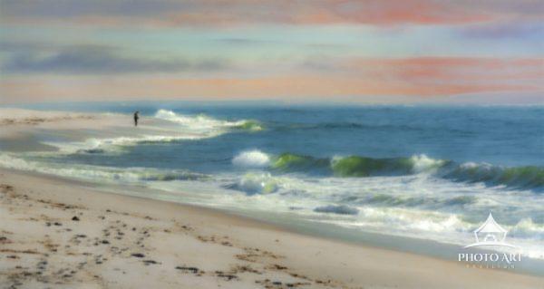 Digital Art piece depicting a lone fisherman on a Long Island Beach.