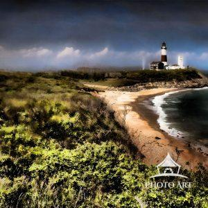 A view of Turtle Beach captured on a beautiful Spring day from Camp Hero in Montauk, New York. It is