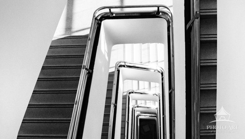 Looking down the staircase at Brooklyn Museum.