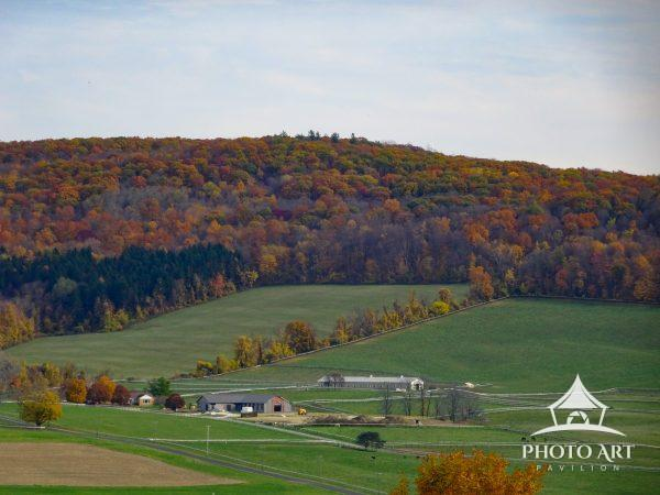 A farm surrounded by trees changing colors in autumn