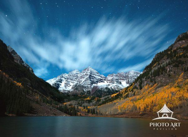 Snow falling on Maroon Bells