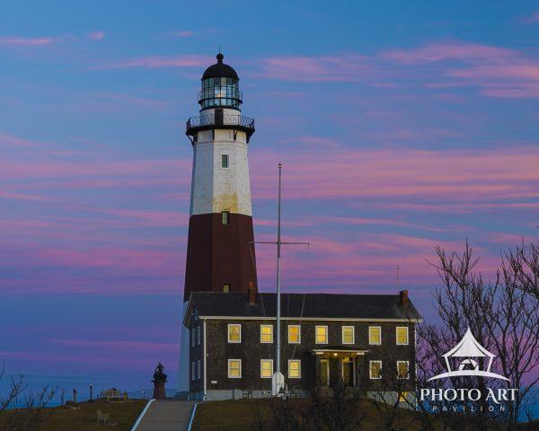 Pink light highlights the Montauk Light sunset.