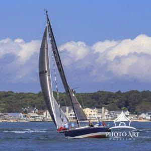Yachts reaching up the Peconic River in the Whitebread 2020 Regatta.