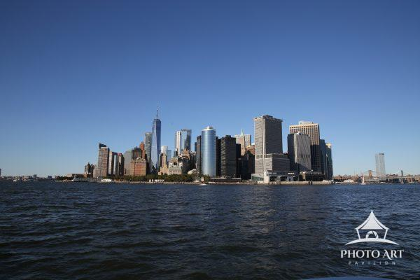 Viewing downtown Manhattan (Financial District) by boat. Seeing it from the waterside.