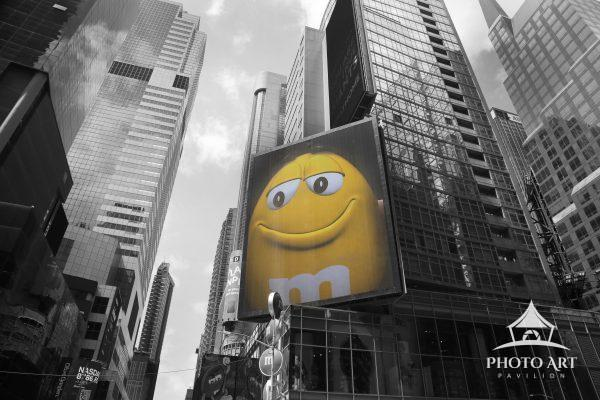 Yellow M&M billboard in Times Square, NYC.