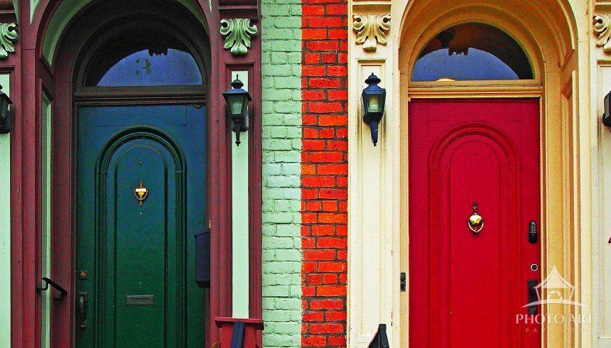 A pair of multicolored doors on Warren Street in Hudson, New York