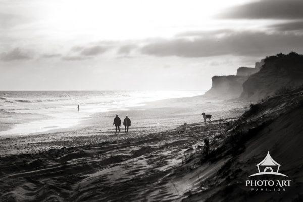 Awesome scene on a misty day along the south shore. A walk along the ocean near Montauk Point, NY, a