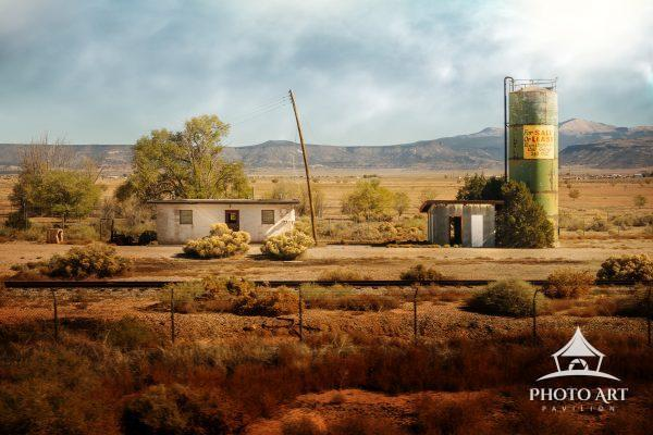 Interesting old buildings left over, on ranch style farmland out in the Southwest. A bit of