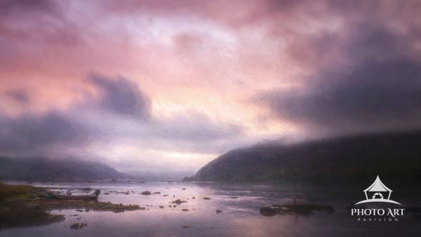 Pink puffy clouds at sunrise along the Susquehanna River, Pennsylvania near Harrisburg.