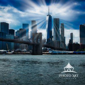 A spiritual rendition of One World Trade and the sky line.