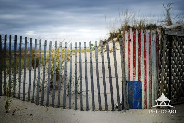 Flag made from a fence on Fire Island along the ocean beach. Robert Moses State Park. Long Island,