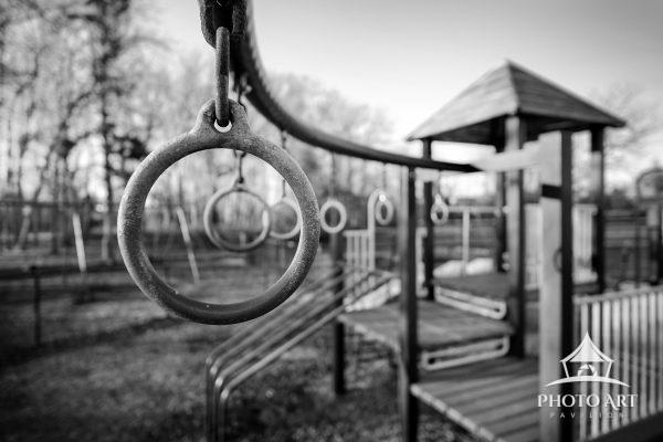 Childrens playground on a cold winter day, with no children brave enough to endure the cold day!