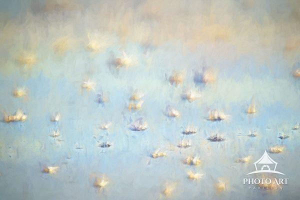 Abstract digital painting of water bubbles as water comes into shore at Island Beach State Park, New